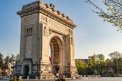 Румынский свод триумфа в Бухаресте, Румынии стоковое изображение
