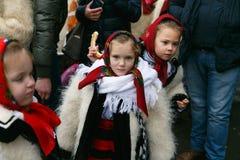 Румынский фестиваль в традиционном костюме Стоковое фото RF