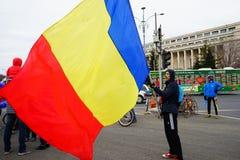 Румынский флаг на протесте, Бухарест, Румыния Стоковые Изображения RF