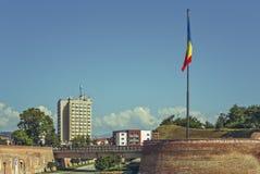 Румынский флаг, Alba цитадель Iulia, Румыния Стоковое Фото