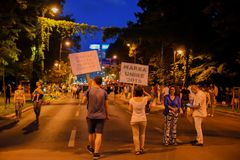 Румыны протестуют против правительства Стоковое Изображение RF