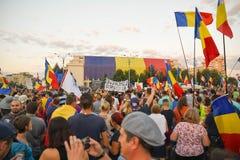 Румыны протестуют против правительства Стоковое Фото