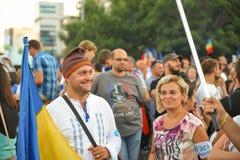 Румыны протестуют против правительства Стоковые Фотографии RF