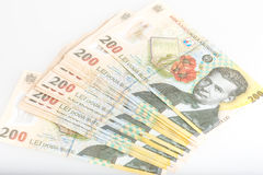 Румын денег стог 200 леев Стоковое Изображение RF
