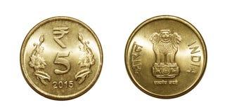 5 рупий монетки Индии стоковые фотографии rf