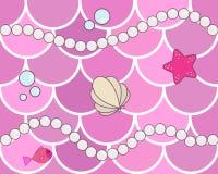 Русалка вычисляет по маcштабу безшовную картину предпосылки Розовое острословие масштабов рыб иллюстрация вектора