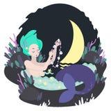 Русалка и полумесяц купают в болоте Стоковое Изображение RF