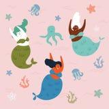 3 русалки и осьминога в воде подводно иллюстрация штока