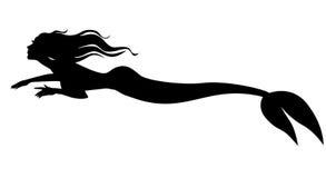 Русалка силуэта плавая вперед Стоковое фото RF