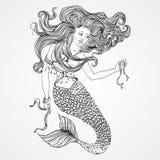 Русалка с красивыми волосами держит ленты Татуировка ART Картина Ретро знамя, приглашение, карточка, резервирование утиля футболк бесплатная иллюстрация