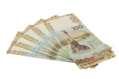 Русская банкнота 100 рублей предназначенных к аннексированию Крыма 2015 Стоковое Фото