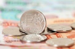 Русская валюта, рублевка: банкноты и монетки Стоковые Фото