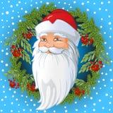 Русская голова Санта Клауса внутри венка хворостин спруса и рябины, листьев и ягод золы горы Шарж вектора стоковые изображения rf