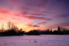 русская зима захода солнца Стоковые Изображения RF