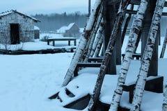 Русская зима к северу от заморозка Стоковые Фото