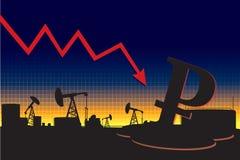 Русская диаграмма спада валюты Стоковое фото RF