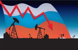 Русская иллюстрация вектора падения цены на нефть Стоковые Изображения RF