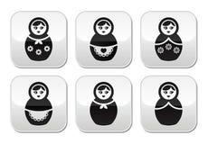 Русская кукла, ретро установленные кнопки matrioshka Стоковое Фото
