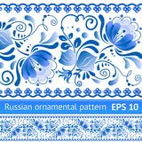 Русская национальная голубая флористическая картина Стоковая Фотография RF