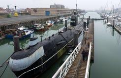 Русская подводная лодка на тематическом парке набережной морском в Zeebrugge стоковые фото