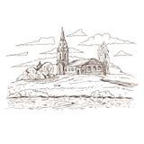 Русская православная церковь в деревне Стоковая Фотография RF