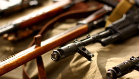 Русская предпосылка войск винтовки автоматического оружия Стоковые Изображения RF