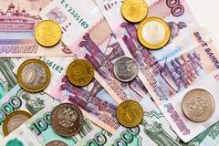 Русская предпосылка денег Рубли банкнот и монеток Стоковые Фото