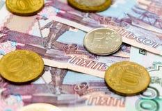 Русская предпосылка денег Рубли банкнот и монеток Стоковая Фотография RF