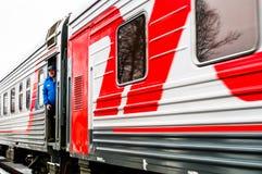 Русская пропаганда Русский поезд кампании оппозиционной партии LDPR стоковая фотография rf