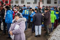 Русская пропаганда Русский поезд кампании оппозиционной партии LDPR стоковая фотография