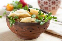 Русская тарелка - вареники картошки стоковые изображения rf