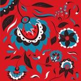Русская фольклорная флористическая предпосылка в стиле Khokhloma стоковая фотография