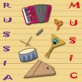 Русская фольклорная картина музыкальных инструментов Стоковое Фото