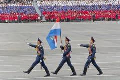 Русская церемония военного парада отверстия на ежегодном Викторе Стоковая Фотография