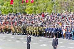Русская церемония военного парада отверстия на ежегодном Викторе Стоковые Изображения