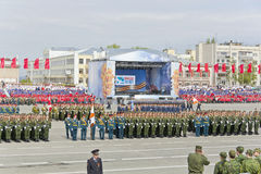 Русская церемония военного парада отверстия на ежегодном Викторе Стоковая Фотография RF