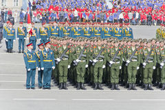 Русская церемония военного парада отверстия на ежегодном Викторе Стоковые Фотографии RF