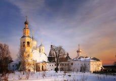Русская церковь ландшафта зимы Стоковое Изображение RF