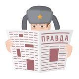 Русская шпионка в вахтах шляпы из-за газеты верно Шпионка шаржа Стоковая Фотография