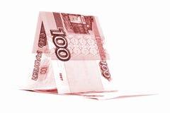 Русская шлюпка рубля денег, лачуга рублевки изолированная на белой предпосылке стоковая фотография