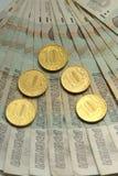 Русские банкноты 50 рублей русский дег наличных дег годовщины Стоковое фото RF