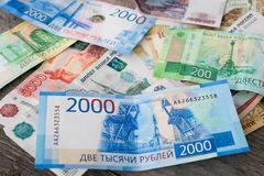 Русские бумажные деньги 1000 рублей, 2000 рублей, 5000 рублей, 200 рублей Стоковые Изображения RF