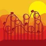 Русские горки предпосылки в парке атракционов иллюстрация штока
