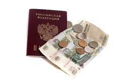 Русские деньги whith пасспорта Стоковое Изображение
