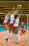 русские женщины волейбола Стоковая Фотография