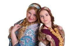 Русские женщины в национальных головных платках Стоковая Фотография