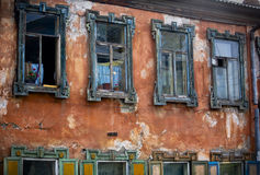 Русские затрапезные окна Стоковое Фото