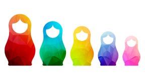 Русские значки кукол установили мозаику силуэта логотипа Стоковые Фото