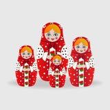 Русские куклы или куклы matryoshka Иллюстрация вектора на предпосылке Стоковая Фотография