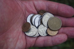 Русские монетки в ладони Стоковая Фотография